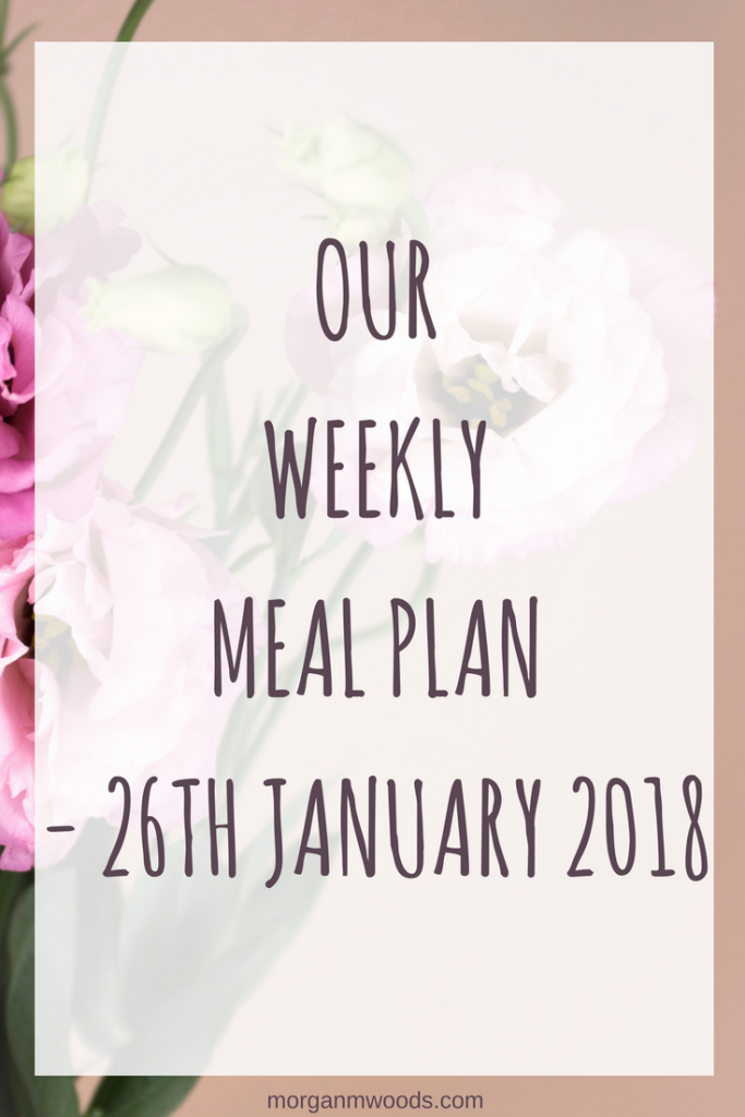 Our weekly meal plan - 26th January 2018
