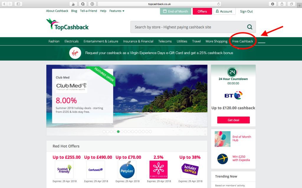 The location of the free section on Topcashback