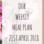 Weekly meal plan - 21st April 2018