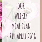 Weekly meal plan – 7th April 2018