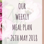 Weekly meal plan - 26th May 2018