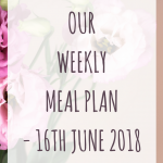 Weekly meal plan – 16th June 2018