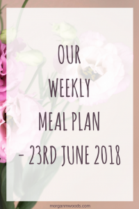 Weekly meal plan - 23rd June 2018