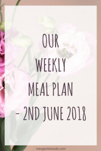 Weekly meal plan - 2nd June 2018