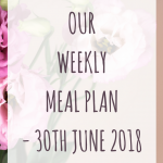 Weekly meal plan - 30th June 2018