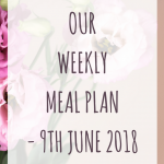 Weekly meal plan – 9th June 2018